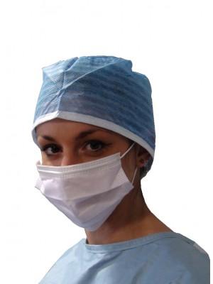Mascherina a 3 strati con elastici rotondi anallergici
