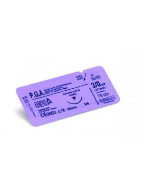 Sutura P.G.A 6/0, 45 cm. Ago: 12 mm, punta super tagliente, 3/8cerchio, dorso tagliente