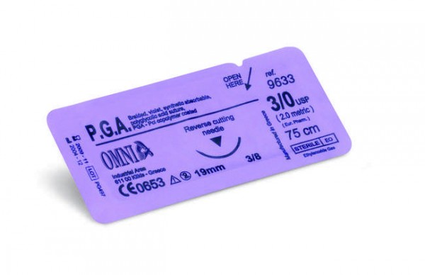 Sutura P.G.A. 3/0, 75 cm. Ago: 19 mm, punta tagliente, 3/8 cerchio, dorso tagliente